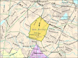 Morris Plains, New Jersey - Image: Census Bureau map of Morris Plains, New Jersey