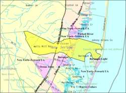Census Bureau map of Ocean Township, Ocean County, New Jersey