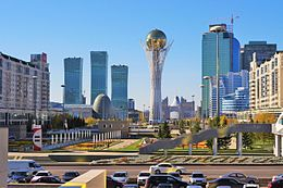 Downtown Astana with a view of the tower of Bayterek.