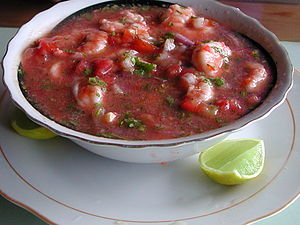Ecuadorian ceviche, made of shrimp, lemon and ...