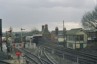 East Anglian Railway Museum - Chappel and Wakes Colne railway station (far right-hand track) and the East Anglian Railway Museum
