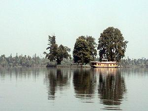 "Platanus orientalis - Famous Char Chinar (""four chinar trees"") island on Dal lake, Srinagar, Jammu and Kashmir, India."