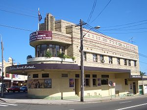 Charing Cross, New South Wales - Robin Hood Hotel, an example of the Art Deco style