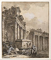 Charles-Louis Clérisseau - Figures near a Ruined Colonnade - Google Art Project.jpg