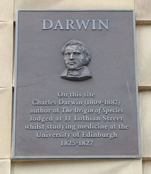 Charles Darwin's education - Plaque in Lothian Street, indicating where Darwin lived while studying at Edinburgh