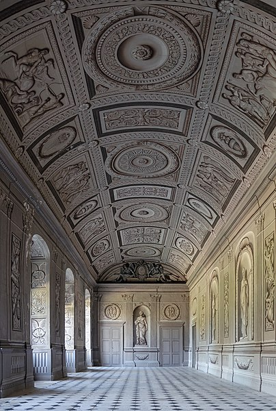 Château de Tanlay, Yonne department, Burgundy, France: gallery with grisaille frescoes painted in trompe-l'œil.