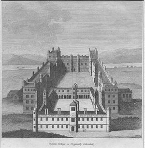 Chelsea College (17th century) - Impression of the intended College; from Francis Grose, Military Antiquities.