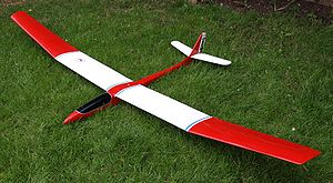 Radio-controlled glider - A traditionally built '100S' class thermal soaring glider