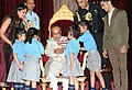 Children tying 'Rakhi' to the President, Shri Pranab Mukherjee, on the occasion of 'Raksha Bandhan', at Rashtrapati Bhavan, in New Delhi on August 18, 2016 (2).jpg