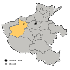 Luoyang is highlighted on this map
