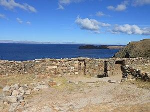 Chinkana - Chinkana with Lake Titicaca and the island Qhuchiwat'a (Jochihuata) in the background