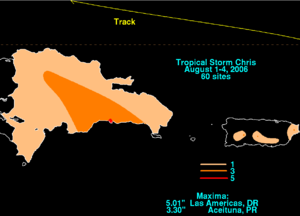 Tropical Storm Chris (2006) - Rainfall totals from Tropical Storm Chris in Puerto Rico and the Dominican Republic