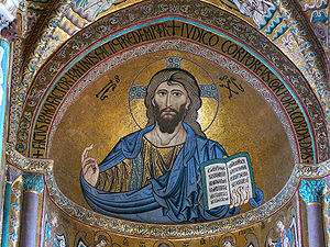 Norman-Arab-Byzantine culture - Byzantine-style mosaic of Christ Pantokrator in the Cefalù Cathedral, erected by Roger II in 1131