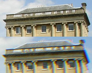 Chromatic aberration - Photographic example showing high quality lens (top) compared to lower quality model exhibiting lateral chromatic aberration (seen as a blur and a rainbow edge in areas of contrast.)