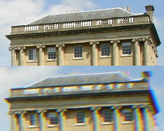 Chromatic aberration - Photographic example showing high quality lens (top) compared to lower quality model exhibiting transverse chromatic aberration (seen as a blur and a rainbow edge in areas of contrast.)