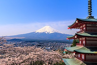 Tourism in Japan - Mount Fuji, as seen from Fujiyoshida, Yamanashi