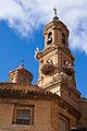 Cigüeñas en el campanario de la iglesia de San Jorge el Real de Tudela.jpg