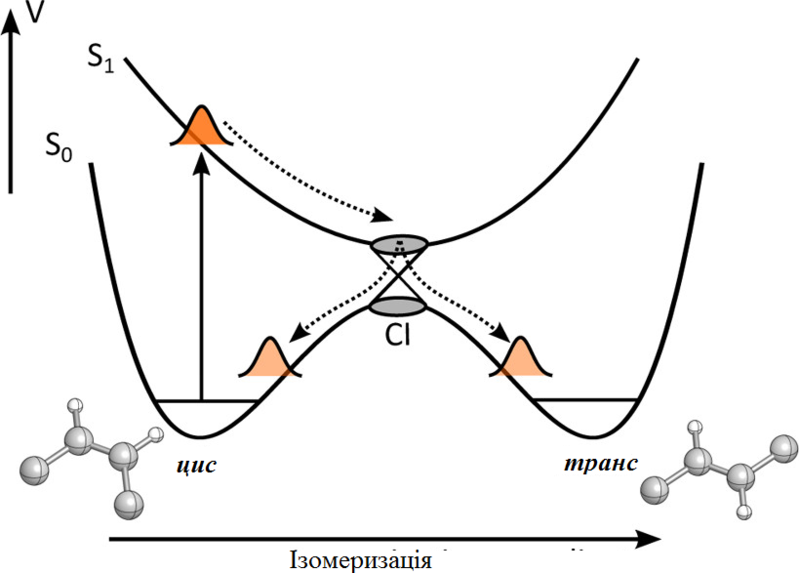 File:Cis-trans photoisomerization mediated by a conical intersection uk.png