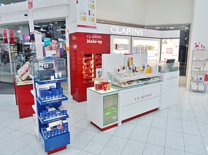 Clarins - Clarins at a cosmetic counter in New Zealand department store Farmers