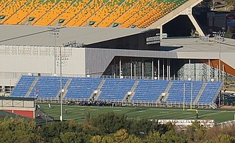 Clarke Stadium - Clarke Stadium with Commonwealth Stadium in the background