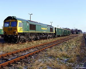 Freightliner Group - Freightliner PL 66004 awaits its next duty at the railway station in Złotów, Poland on 30 September 2008
