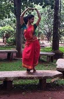 Classical Dancer Displaying Her Expression at the Nrityagram Garden..JPG