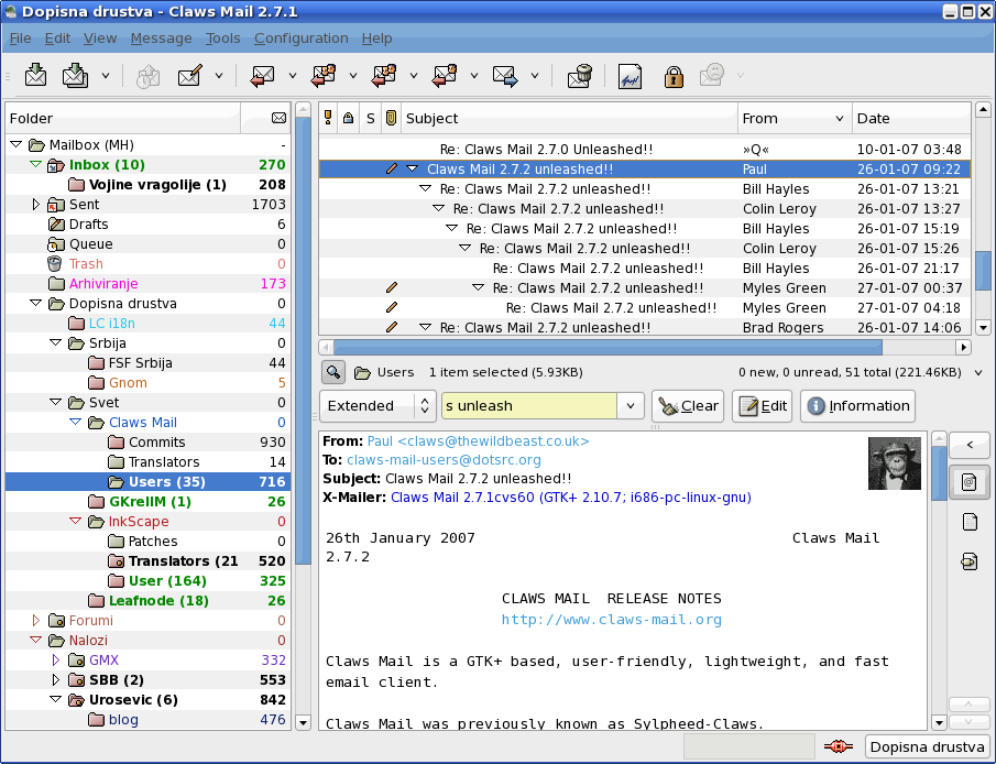 Main window of Claws Mail 2.7.1