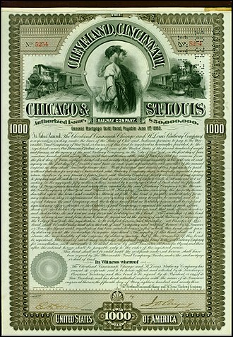 Cleveland, Cincinnati, Chicago and St. Louis Railway - Gold Bond of the Cleveland, Cincinnati, Chicago and St. Louis Railway Company, issued 15. May 1893