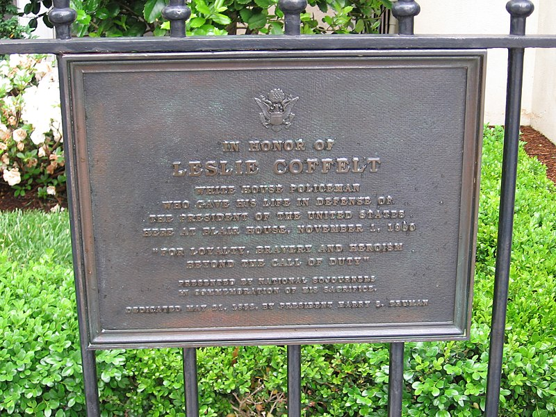 Plaque commemerating Leslie Coffelt killed at the Blair House