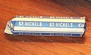 Coin wrapper - A roll of 40 nickels worth $2