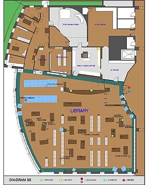 Columbine High School massacre - An FBI diagram of the library at Columbine High School, depicting the location of the fatalities