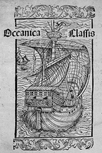 Columbus's letter on the first voyage - Illustrative woodcut from the Latin edition of Columbus's letter printed in Basel in 1494.
