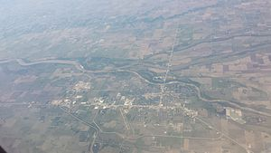 Columbus, Nebraska - Columbus, seen from an airplane, looking south