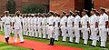 Commander of the Srilanka Navy, Vice Admiral Jayantha Perera, inspecting the Guard of Honour at South Block.JPG