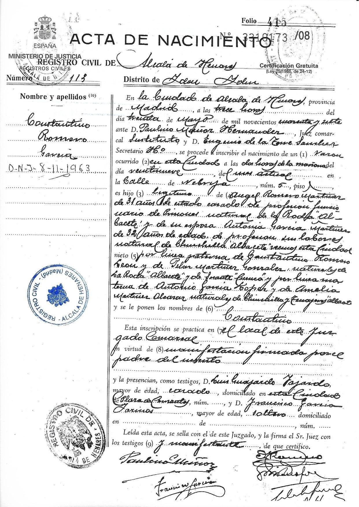 File:Constantino Romero García (Alcalá de Henares 29-05-1947) acta ...