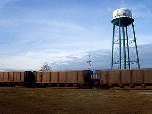 Conway, South Carolina - Trains in front of the Conway watertower