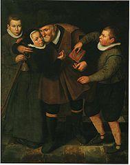 Oude man met armbus en kinderen
