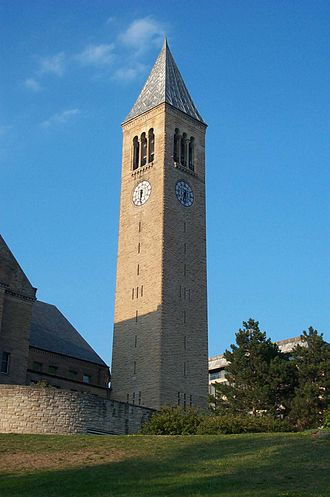 Tompkins County, New York - McGraw Tower, Cornell University on East Hill above downtown Ithaca