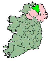 center Map highlighting مقاطعة لندنديري/ County Londonderry
