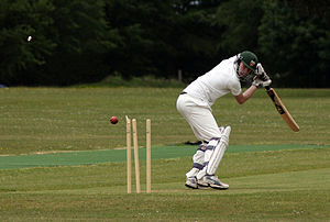 English: A batsman is bowled early in a cricke...