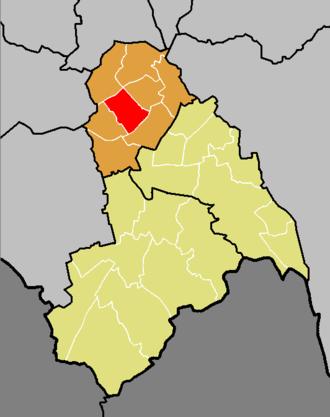 Bensham Manor - The ward of Bensham Manor (red) shown within the Croydon North constituency (orange) within the London Borough of Croydon (yellow)