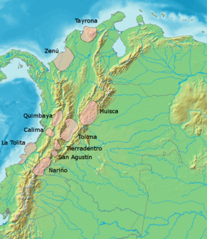 Panche people - Map of pre-Columbian civilizations. The Panche and Pijao are grouped as Tolima