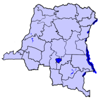 Map of the Dem. Rep. of the Congo highlighting the Province of 東カサイ州