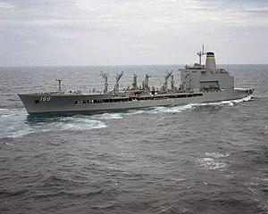 USNS Joshua Humphreys (T-AO-188) - USNS Joshua Humphreys (T-AO-188) underway in reverse during sea trials, February 1987