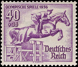 Equestrian at the 1936 Summer Olympics - Equestrian at the 1936 Summer Olympics on a German stamp