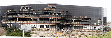 Panorama of a damaged building