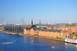 Applebys Plads - The waterfront with the former sugar factory, viewed from Langebro Bridge