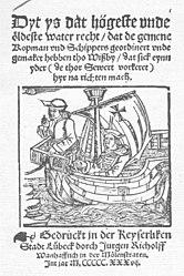 Dyt ys dat högeste unde öldeste water recht / dat de gemene Kopman vnd Schippers geordinert vnde gemaket hebben tho Wißby / dat sick eynn yder (de thor Sewert vorkeret) hyr na richten mach.