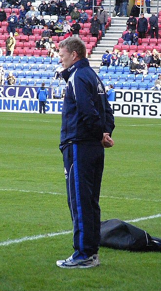 David Moyes - Moyes managing Everton against Wigan Athletic in January 2010