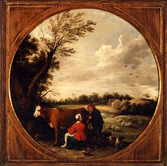 Landscape with Woman Milking a Cow and a Shepherd,